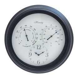 Outdoor Clock Detailed with Bold Numerals in Black Font - Easy to fit on the walls of your porch, this vintage designed clock will infuse great charm to your living space. With its large roman numerals in bright hue of blue, it is easy to read the time at a glance even from a distance. Moreover, the black colored minute and hour hands stand out brightly in contrast to the large, off-white dial. The broad frame is made of sturdy metal and is enriched with fine artwork and floral carvings. The…