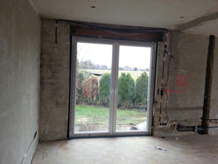 das neue bodentiefe Fenster im Wohnzimmer  Umbau