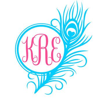 Peacock Feather Monogram Vinyl Decal Custom Car by SouthernMiss2