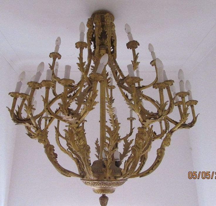 Gilt On Bronze Chandelier 24 Bulb 8 Arm Rococo Revival Probably Dutch