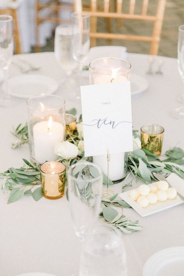 25 Budget Friendly Simple Wedding Centerpiece Ideas With Candles Wedding Table Numbers Round Wedding Tables Simple Wedding Centerpieces