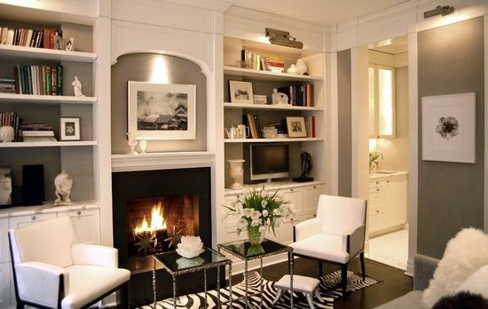 Built in Bookcases around Fireplace | grey and white built in bookcases and fireplace. | Home Decor, I adore