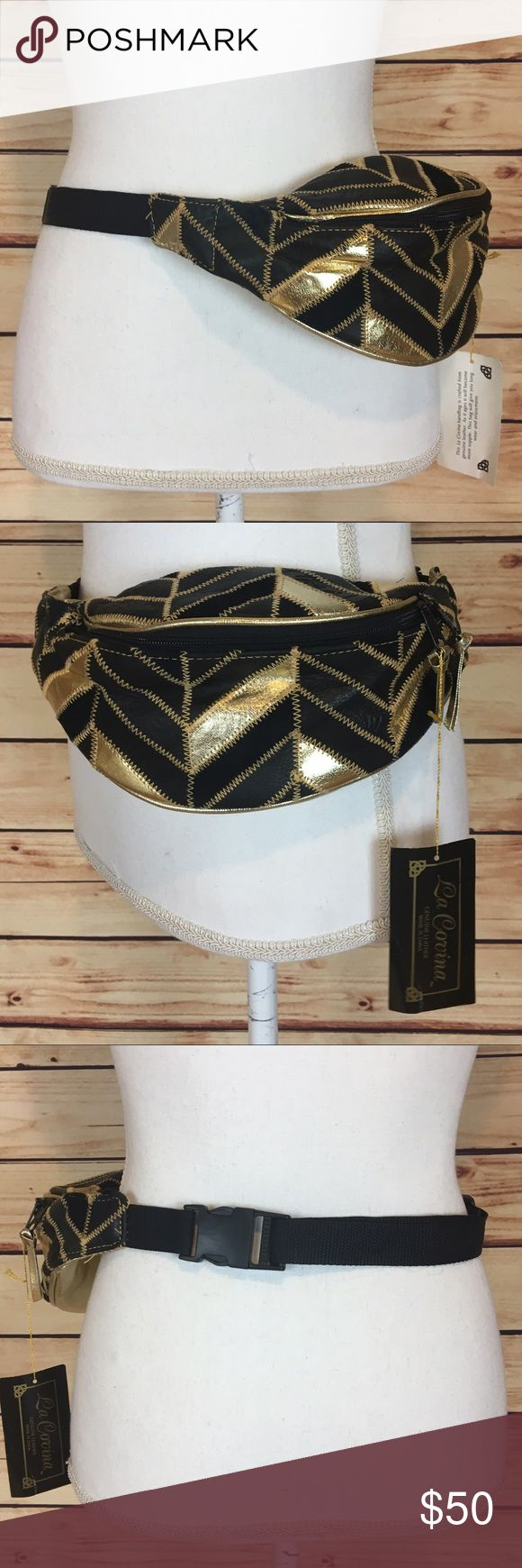 Vintage Deadstock La Covina Leather Fanny Pack Vintage deadstock fanny pack with tags. Genuine leather. Black and gold chevron pattern. Gold back. Fabric belt. Adjustable. By La Covina. One size fits most. Never used, perfect condition. No trades, make me an offer! La Covina Bags