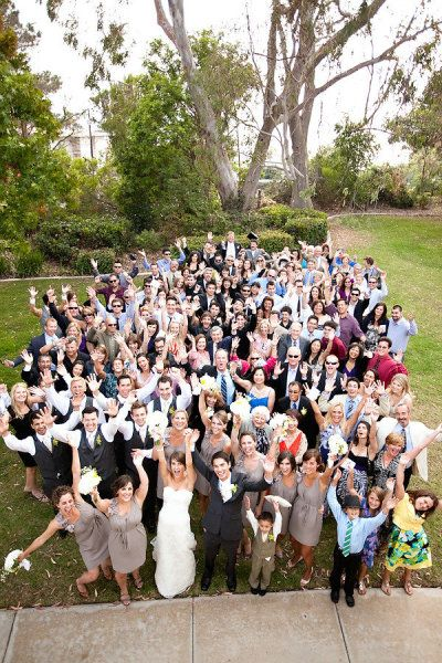This is so cool. A group shot of all the wedding party and guests! Don't think we'll be able to do this though... lotsa people!