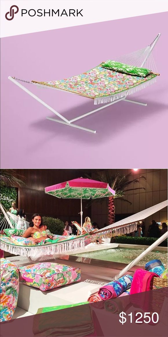 Lilly Pulitzer for Target hammock in Nosey Posey Brand New Lilly Pulitzer For Target hammock in Nosey Posey print. Brand new with tags. Bought hoping I would have outdoor space, but my new apt in NYC has none. Cost includes upgraded shipping costs which I expect to be around $100. Does not include accessories in picture, only hammock. Does not include stand as it was sold separately and I do not have one. I believe that it is a standard hammock stand. Lilly Pulitzer Other