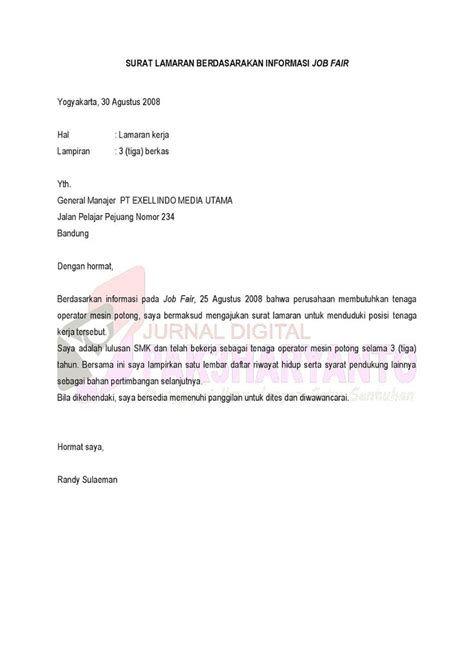 Contoh Surat Lamaran Kerja Bahasa Inggris Berdasarkan Informasi