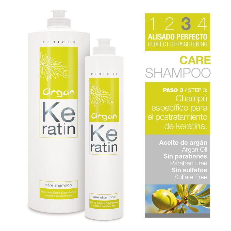 Libre de sulfatos y sodios, Argan Keratin Care es el champú específico para el mantenimiento del alisado. Formulado especialmente para cabellos tratados con keratina o tratamiento de alisado.
