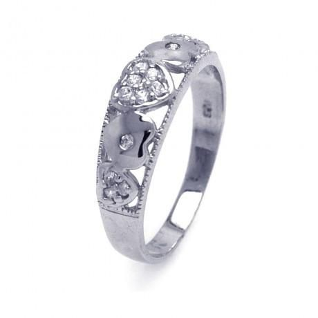 Metal: .925 Sterling Silver Finish: Nickel Free Rhodium Plated Stones: 15 clear 1mm CZ Ring Measurement: 6mm width