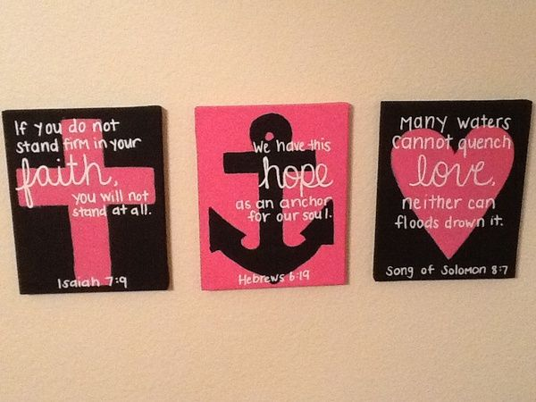 Cross, Anchor, Heart canvas' with Bible scriptures