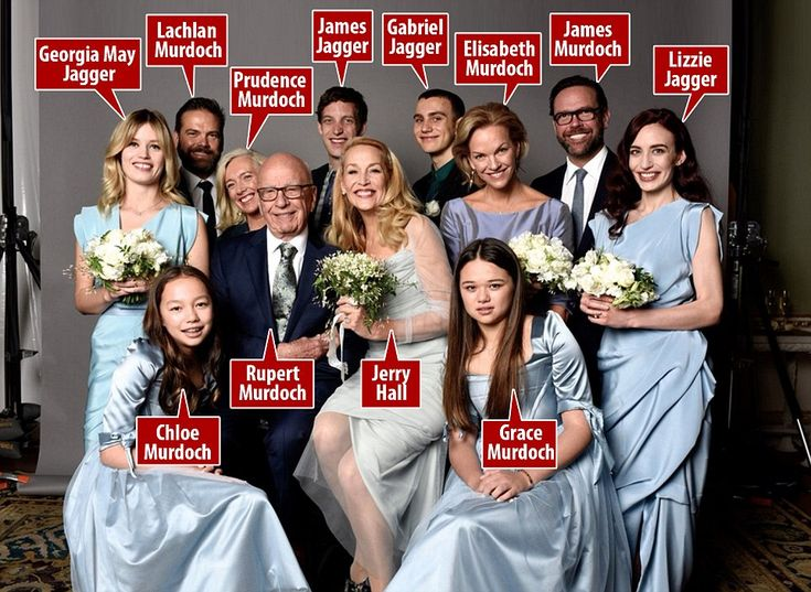 Jerry Hall posted this wedding photo of her and Rupert Murdoch with their 10 children this morning. It shows: (back row, left to right, Georgia May Jagger, Lachlan Murdoch, Prudence MacLeod, James Jagger, Gabriel Jagger, Elisabeth Murdoch, James Murdoch and Lizzie Jagger. Murdoch and Jerry Hall are seated in the middle of the picture with his daughters Chloe (left) and Grace (right) in the front row.
