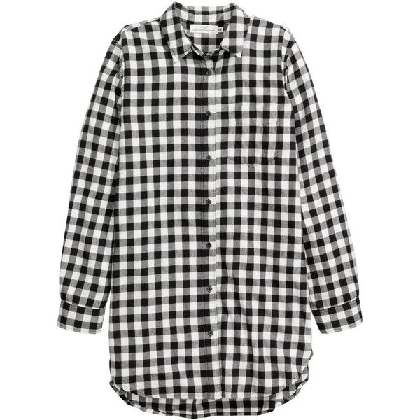 Long Flannel Shirt $24.99 ($25) ❤ liked on Polyvore featuring tops, shirt tops, checkered shirt, long tops, long sleeve shirts and dark blue long sleeve shirt