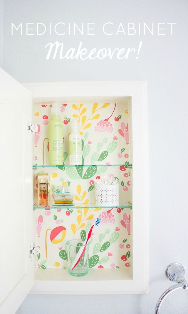 Give your medicine cabinet a colorful spring update with removable wallpaper!
