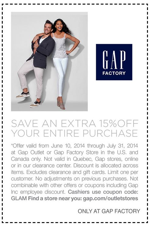 Gap Outlet Coupons: Get 15% Discount, Coupon Codes for July 2014