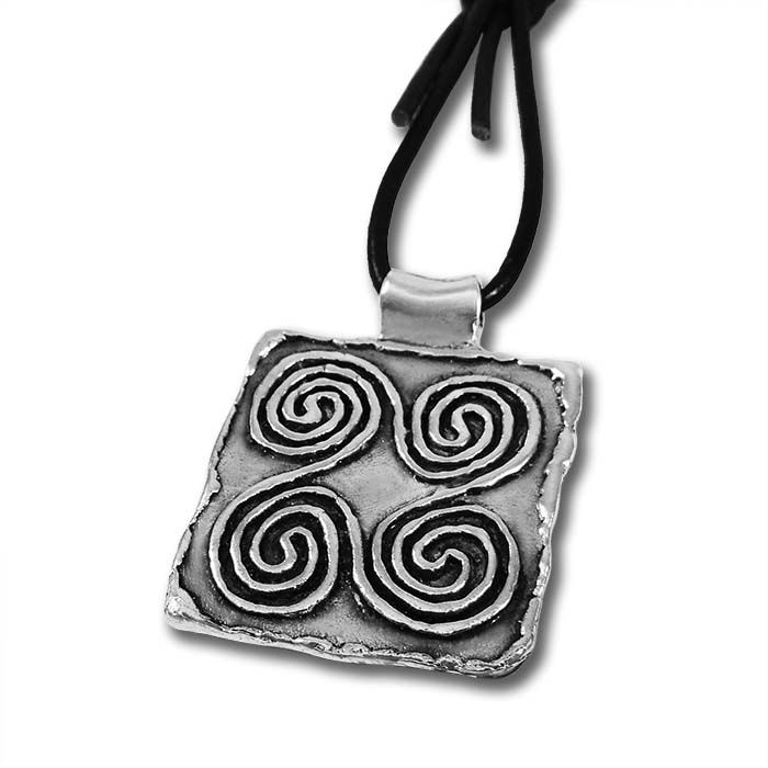 Spirals' silver-plated key-ring was an inspiration from an ancient Greek steatite jewel stamp, found in the town of old Epidaurus, dated 2600-2200 b.C. Handmade engraving made it possible to depict the design as close to the original. Casted in solid bronze and silver-plated in silver solution 999°.