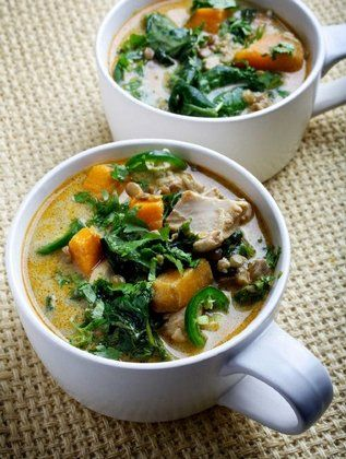 Chicken, Spinach, Sweet Potato Stew and Lentil Coconut Curry