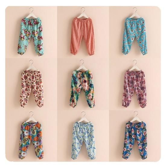 Floral Print Children Summer Harem Pants Candy Color Multi Choosing Stylish Loose Pants Casual Pants by Smartmart Online with $6.03/Piece on Smartmart's Store | DHgate.com