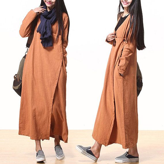 Casual Loose Fitting Long Sleeved Cotton and Linen Long Dress Blouse- Women Maxi dress