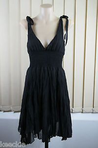 Size S 10 Ladies Black SUN Dress Flowy Casual Crinkle Gothic Peasant Gypsy Style | eBay