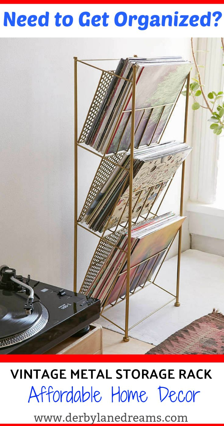 Vintage-inspired metal storage rack perfect for your Magazines, vinyl LPs, Periodicals, etc. 3 spacious shelves for maximum storing. #homedecor #ad #home #decor #diyhomedecor #diy #house #interior #interiordesign #ideas #livingroom #bedrooom #bathroom #storage #organization #cheap #budget #easy #sale