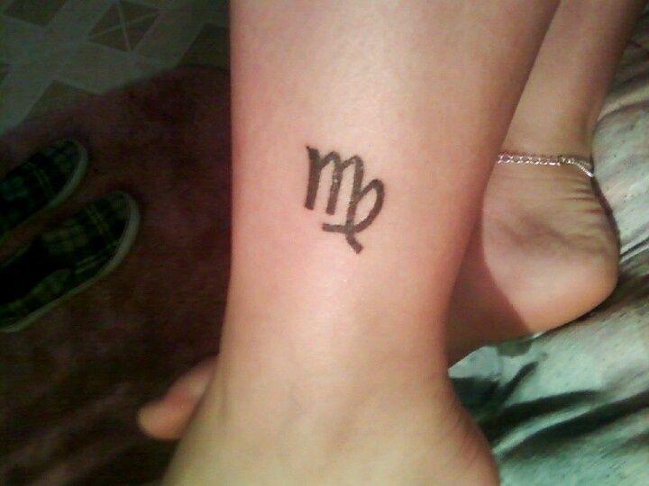 Small Virgo Sign Tattoo On Leg #TinyTattoo #VirgoSign #TattooArt
