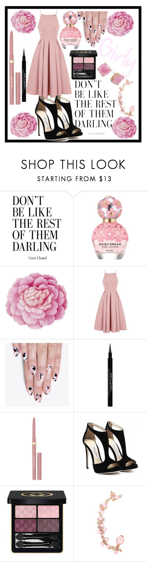 """""""Girly Pink"""" by leanovee ❤ liked on Polyvore featuring Marc Jacobs, Ballard Designs, Chi Chi, alfa.K, Givenchy, Stila, Gucci, Joanna Laura Constantine and Kate Spade"""