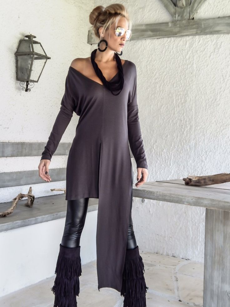 Excited to share the latest addition to my #etsy shop: Gray Asymmetric Long Blouse  / Gray Blouse with Slits / Asymmetric Plus Size Blouse / #35133