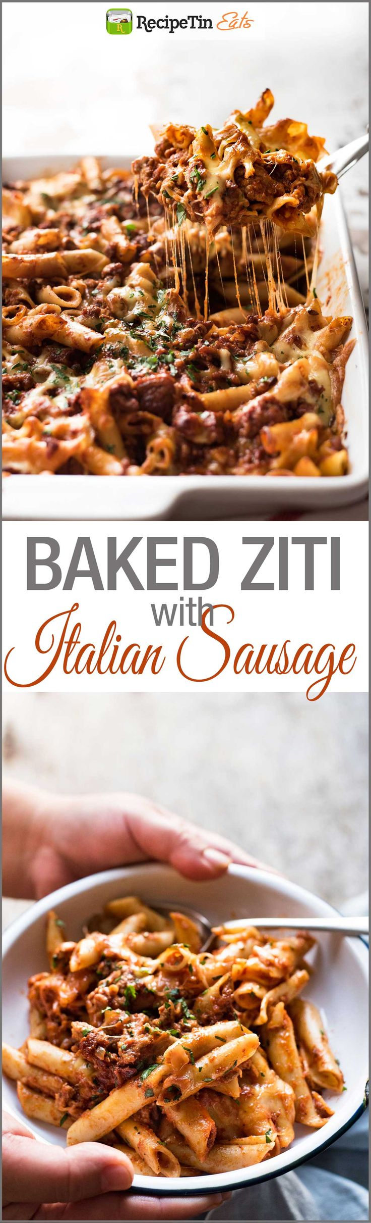 Italian Baked Ziti with Sausage - This is made with a homemade Italian sausage mixture which is EASIER than squeezing meat out of sausage casings!