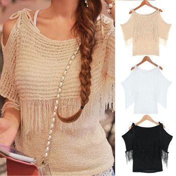 Женская одежда летний новый корейский стиль женщины без бретелек бахромой поддельные из двух частей свитера batwing полый пуловер свитера лучших