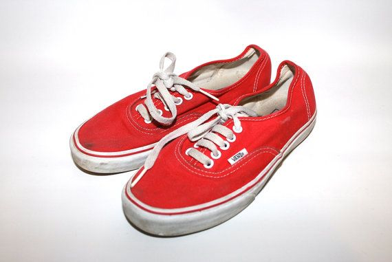 NICE Authentic Red Vans Shoes Mens 8 Womens by TheVintageBulldog