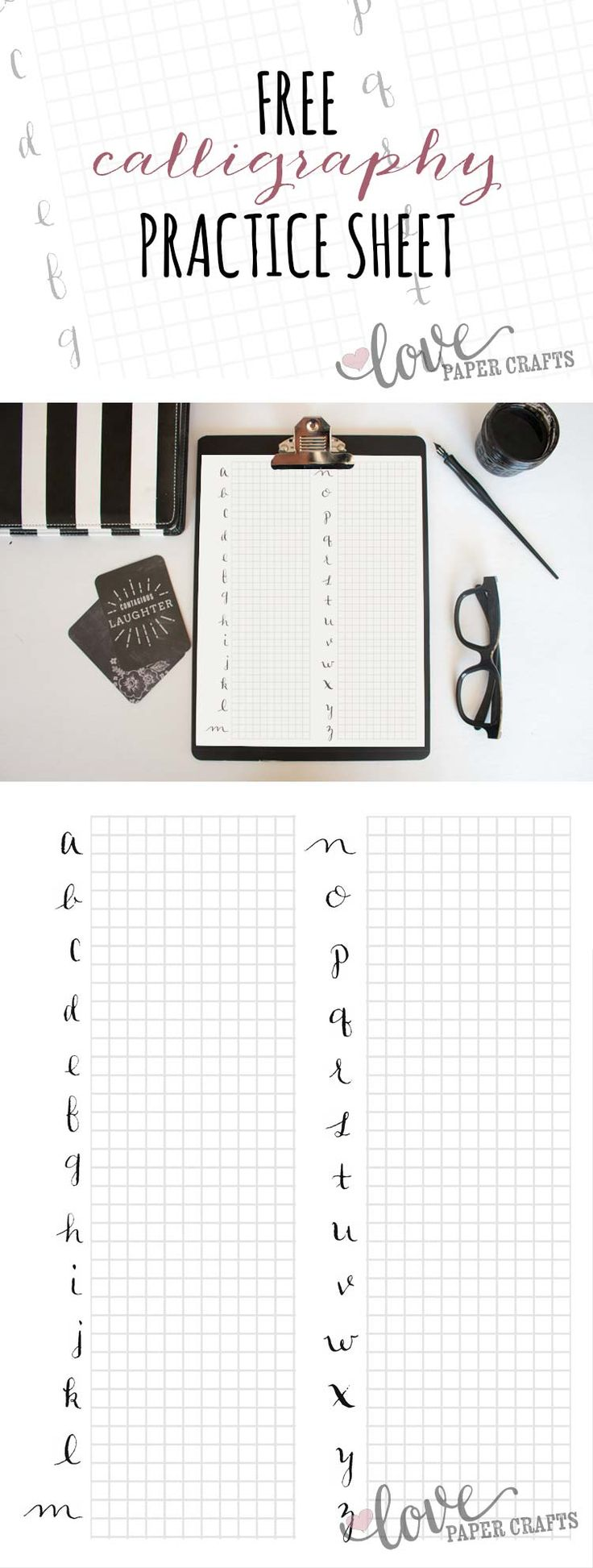 Free Calligraphy Alphabet Practice Sheets | LovePaperCrafts.com