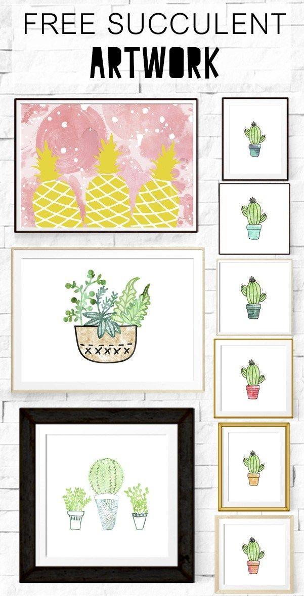 Free Succulent Artwork | Art Printables | Diy wall art, Printable
