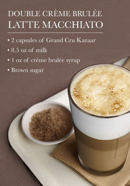 Combine your favorite indulgent dessert with this stunning Double Crème Brulée Latte Macchiato recipe for a vibrant Nespresso treat.