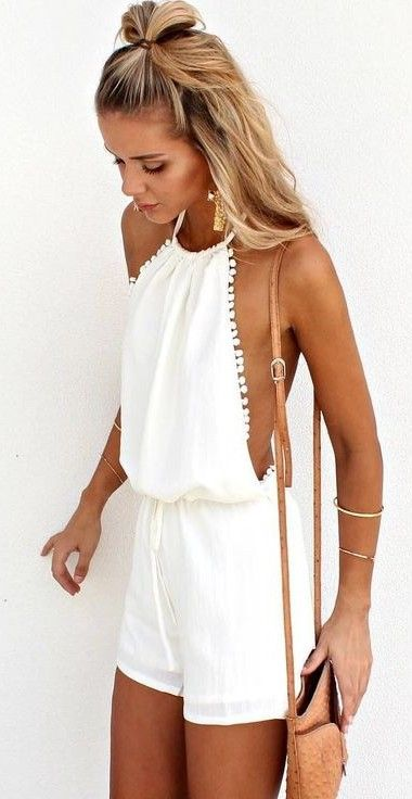 White Halter Playsuit | SaboSkirt