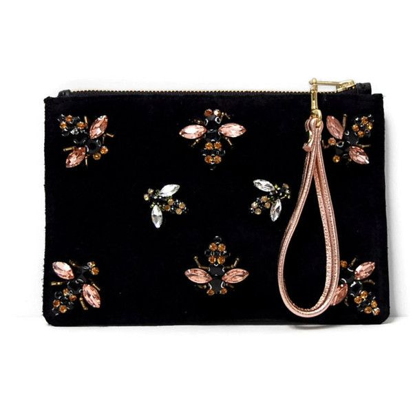 Black suede clutch with bee embellishments flat clutch with rose gold... (£78) ❤ liked on Polyvore featuring bags, handbags, clutches, rose gold clutches, wristlet purse, wristlet clutches, zip purse and rose gold handbag