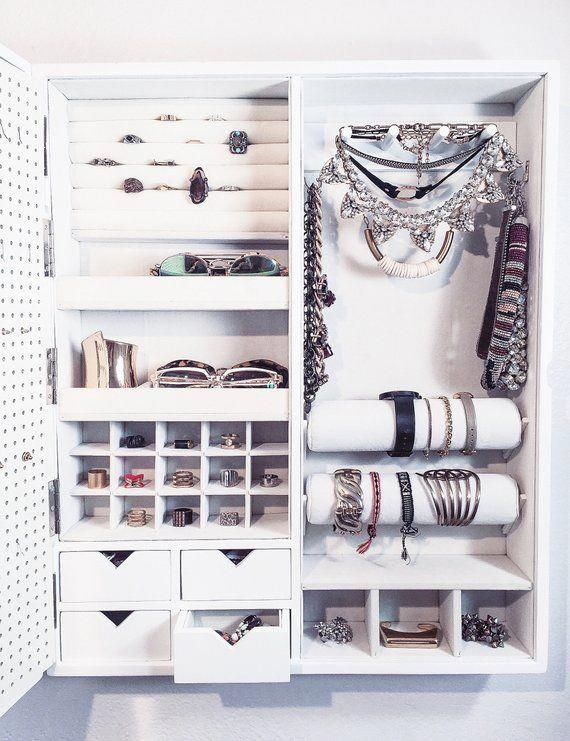 White Picture Frame Wall Mounted Jewelry Organizer Etsy Jewelrymodern Master Bedroom Closets Organization Wall Closet Closet Small Bedroom