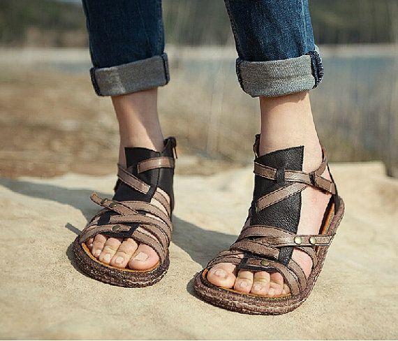 Chaussures, sandales en cuir, cuir chaussures, chaussures plates, Summer chaussures sandales la main de la femme, chaussures sandale personnelle