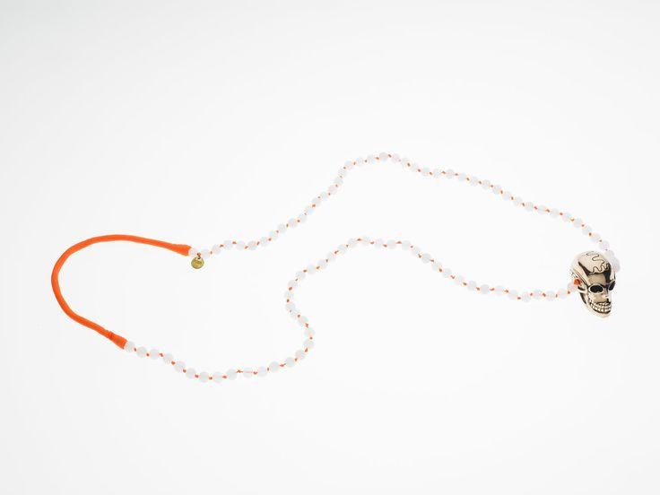 PUSHMATAaHA/ Skullywag Necklace/ Crystal Beads with Orange Neon