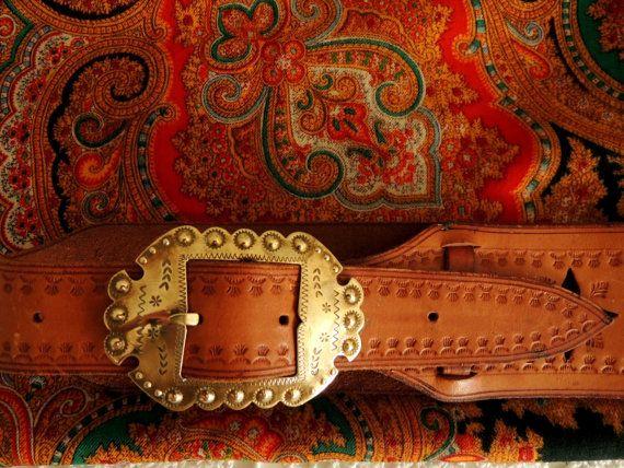 Vintage Leather Belt Folk Belt Brass Buckle Polish Folk