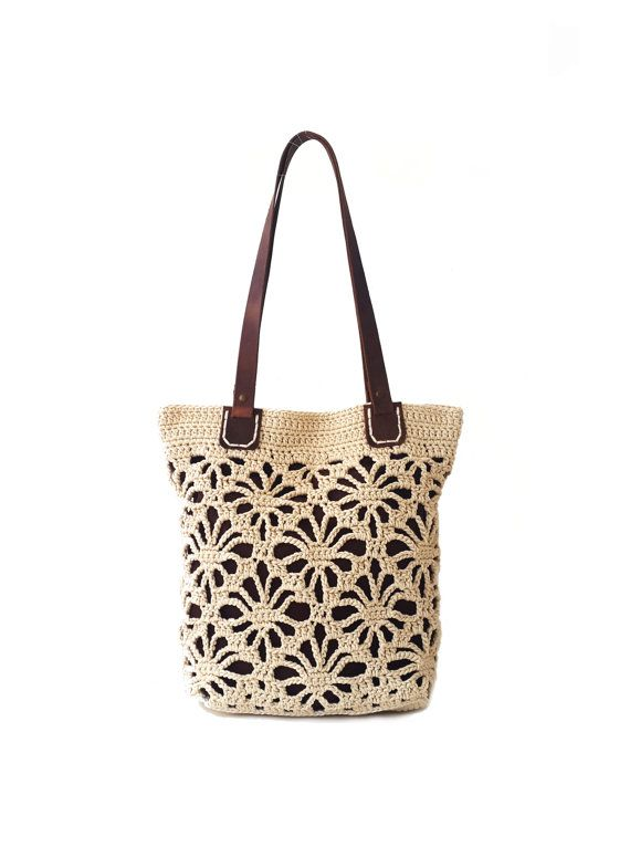 Crochet lace tote in tan colour with genuine leather handles, natural crochet…