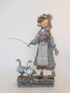 """""""...And Two Geese"""" - art doll by Anna Zueva. 45 cm (18 inches) tall. Paperclay, textile, acryl, mixed media. No pre-fabricated parts, it's completely handmade work. The doll is made in a single copy (OOAK), date of work: July, 2015  More dolls by Anna Zueva: http://www.annazueva.com"""