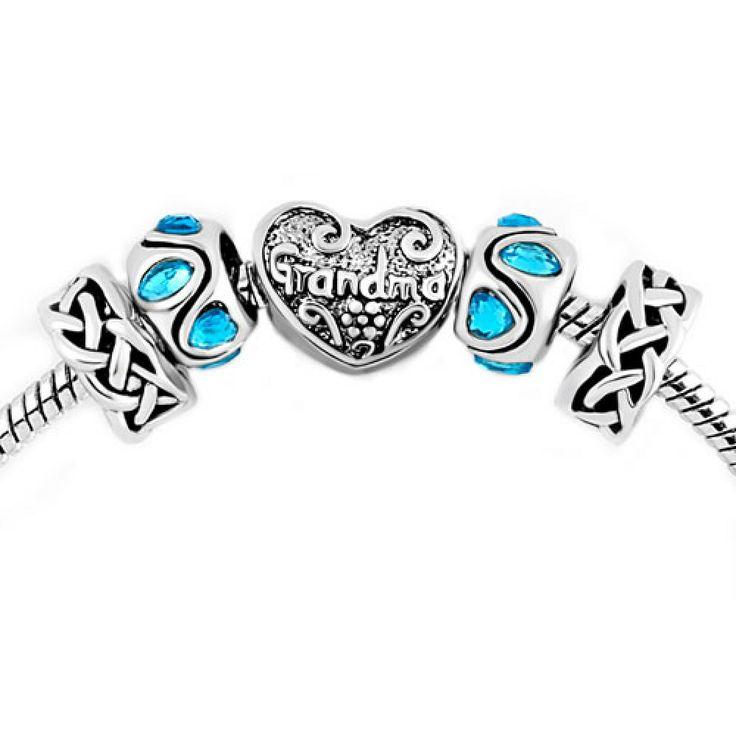 Ocean Blue Crystal Silver Plated Knotting Heart Love Grandma Beads Set BraceletPandora Compatible | Charmsstory.com  #grandma #pandora #charms #heart #crystal  #charmbracelet