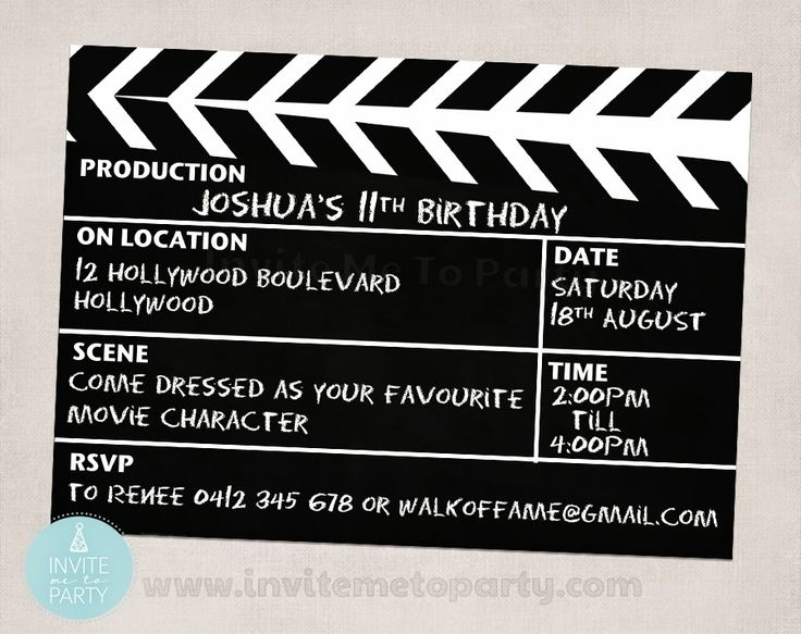 movie party invite hollywood party invite clapperboard invite cinema party theater party. Black Bedroom Furniture Sets. Home Design Ideas