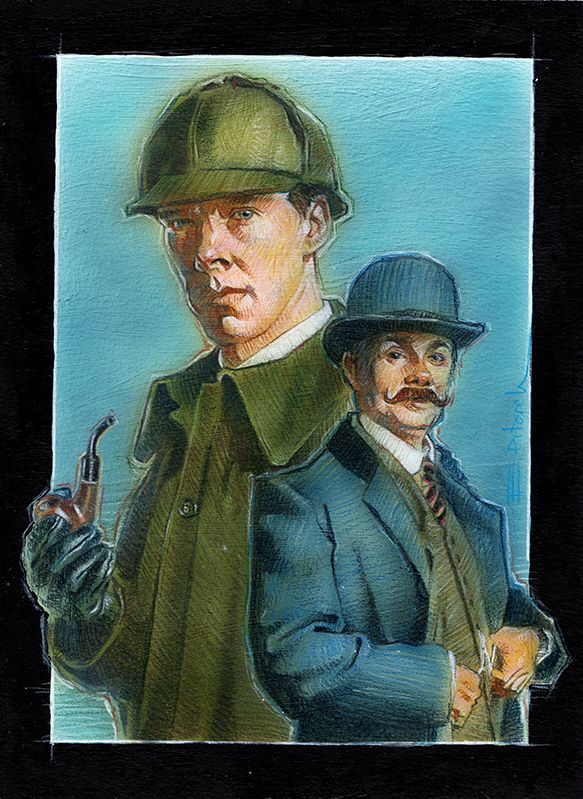 Watson and Sherlock. Acrilyc and prismacolor pencils. E. Pitarch © 2016. All rights reserved.