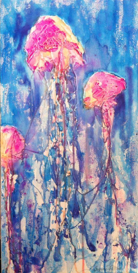 "SOLD!! ""Rainbow jellyfish"" - watercolour on canvas. Sold at Cafe Jilarty at Rainbow, Rainbow Beach"