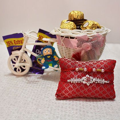 Silver Rakhi with Chocolate Hampers