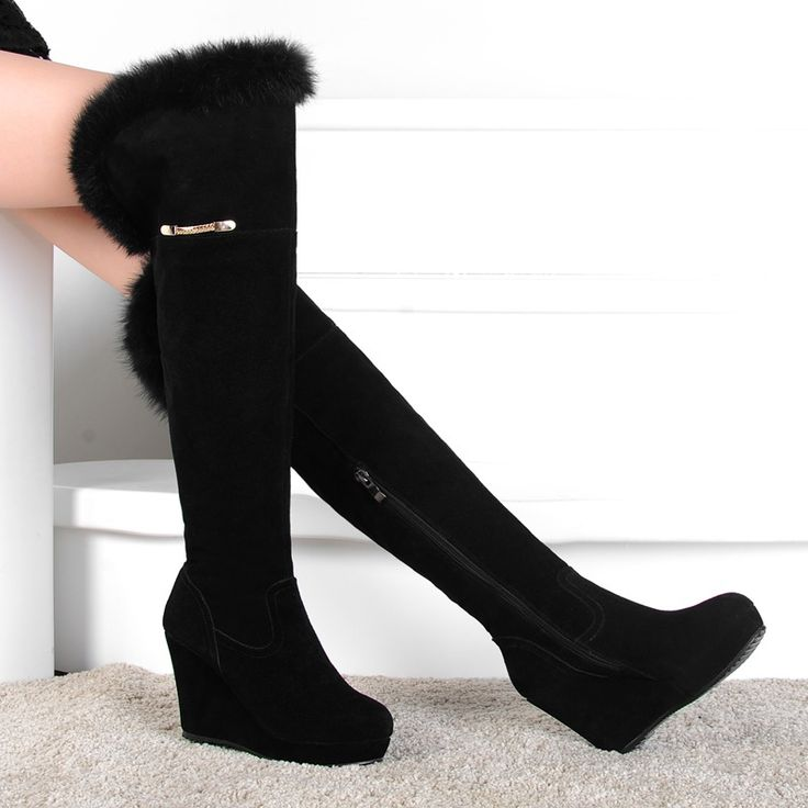 women winter boots warm over the knee boots fur genuine leather boots black wedge sexy high heel boots CX-65 EUR size 34-39