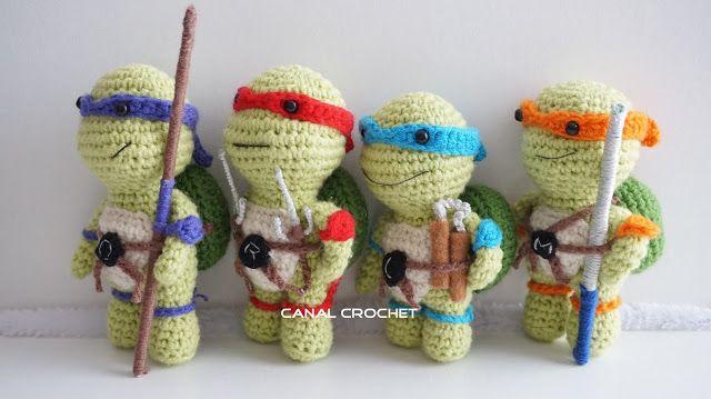 Miquelangello, Donatello, Rafaello e Gabriello. Las tortugas ninjas que graciosas para decorar en crochet.