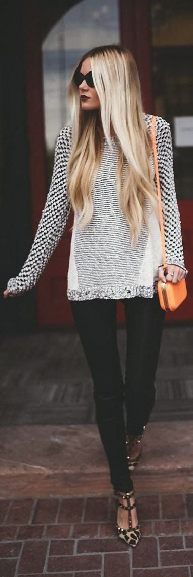Slat and pepper sweater black and white sweater leggings orange purse and cheetah leopard sandals highlights loose waves dark lip sunnies in the fall outfit