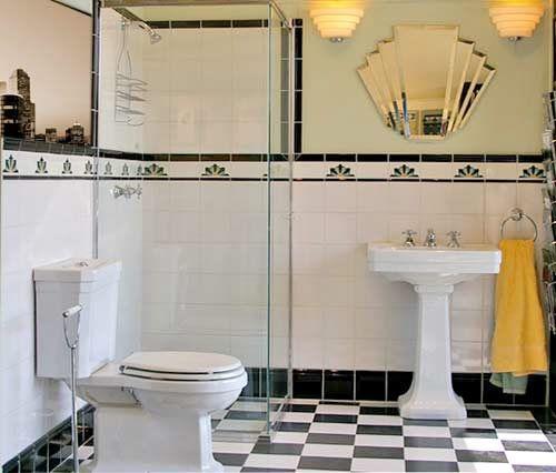 Detaljerna som gör ett svart-vitt art déco-badrum - Sköna hem