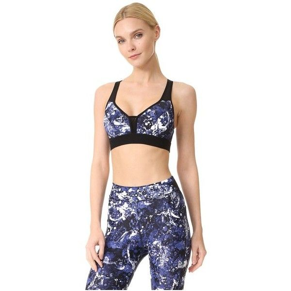 hpe Impact Bra 1.0 (105 AUD) ❤ liked on Polyvore featuring activewear, sports bras, blue graffiti, racer back sports bra, racerback sports bra, blue sports bra, petite sportswear and petite activewear
